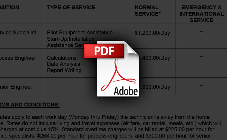 Field Service Rates